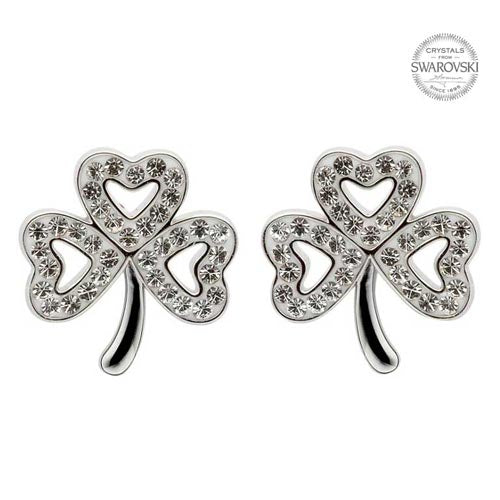 Sterling Silver Swarovski Crystal Shamrock Earrings