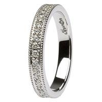 14K White Gold Trinity Knot Wedding Band Shanore
