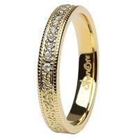 14K Gold Trinity Knot Diamond Wedding Band Shanore