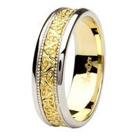 14K gold mens wedding band Shanore