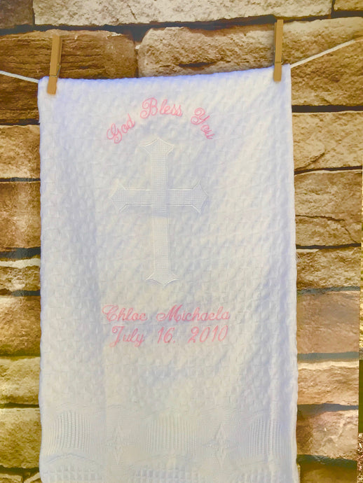 Personalized Embroidered Baptismal/Birth Blanket Cross