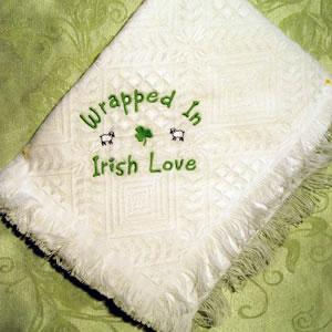 embroidered wrapped in Irish Love