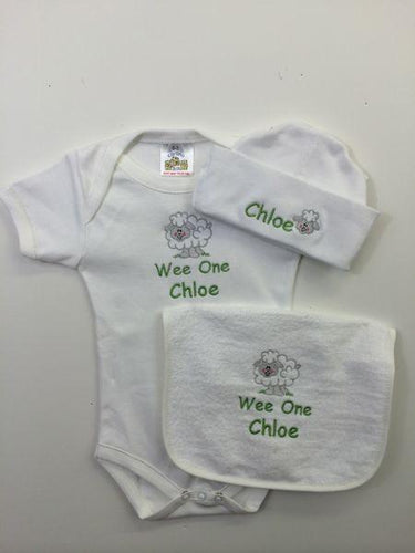 Personalized embroidered Sheep Set Wee Irish Baby