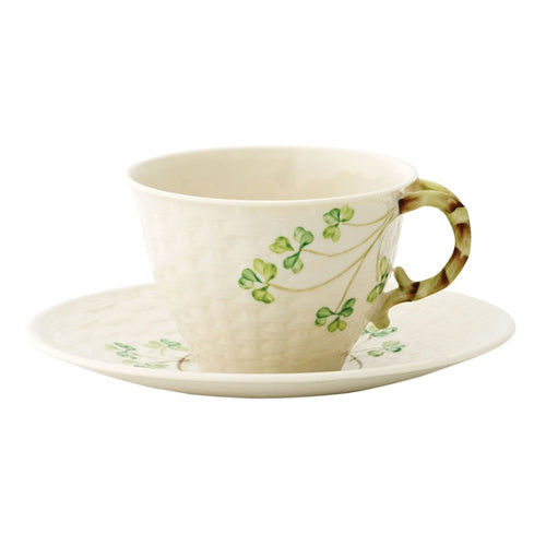 Belleek Classic Shamrock Teacup and Saucer