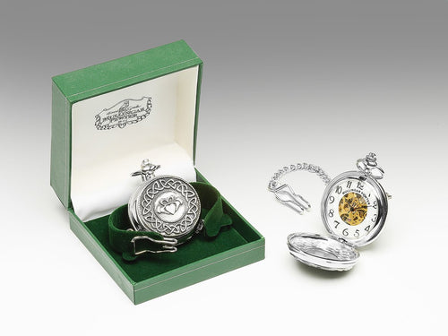 Mullingar Pewter Mechanical Pocket Watch with Pewter Claddagh Design