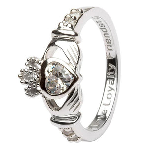 April Birthstone Claddagh Ring in Sterling Silver