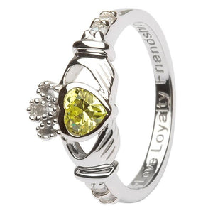 August Claddagh Birthstone Ring in Sterling Silver