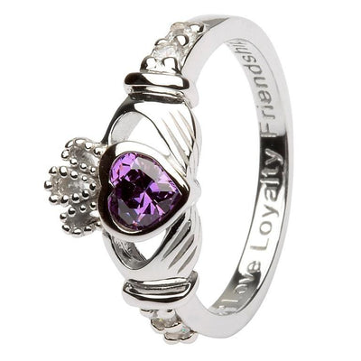 February Birthstone Claddagh Ring in Sterling Silver