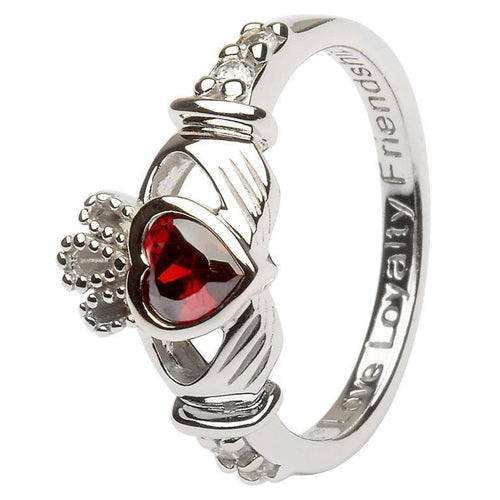January Birthstone Claddagh Ring In Sterling Silver