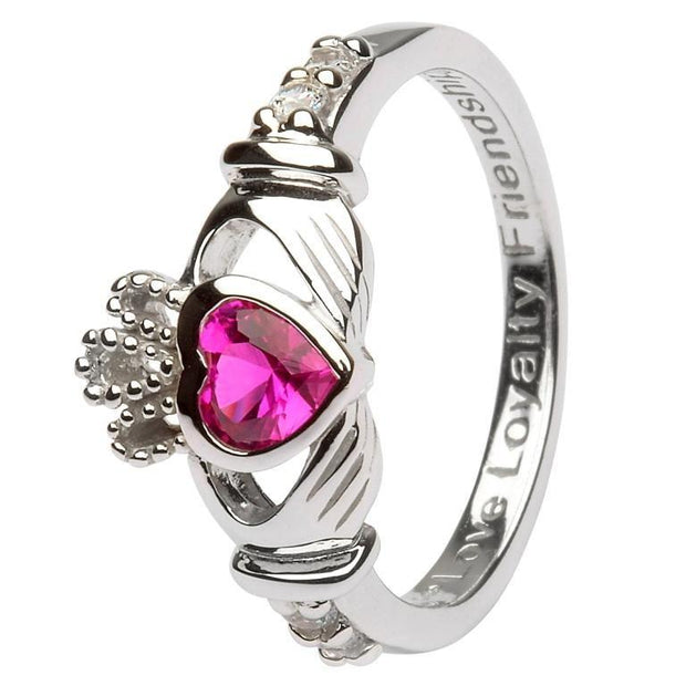 July Birthstone Claddagh Ring in Sterling Silver