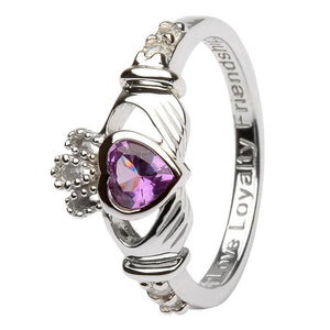 June Birthstone Claddagh Ring in Sterling Silver