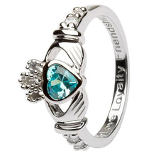 Load image into Gallery viewer, March Birthstone Claddagh Ring in Sterling Silver