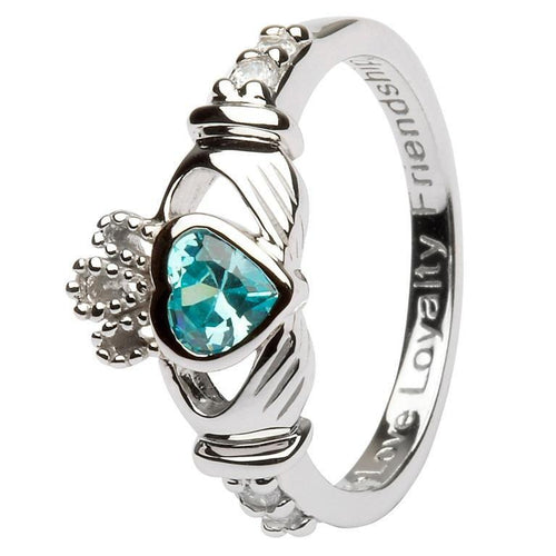 March Birthstone Claddagh Ring in Sterling Silver