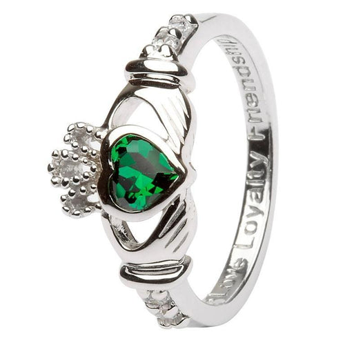 May Birthstone Claddagh Ring in Sterling Silver