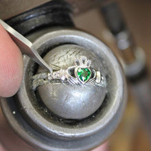 Load image into Gallery viewer, May Birthstone Claddagh Ring in Sterling Silver