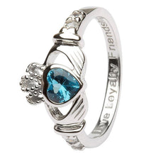 Load image into Gallery viewer, December Birthstone Claddagh Ring in Sterling Silver