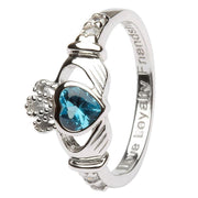 December Birthstone Claddagh Ring in Sterling Silver
