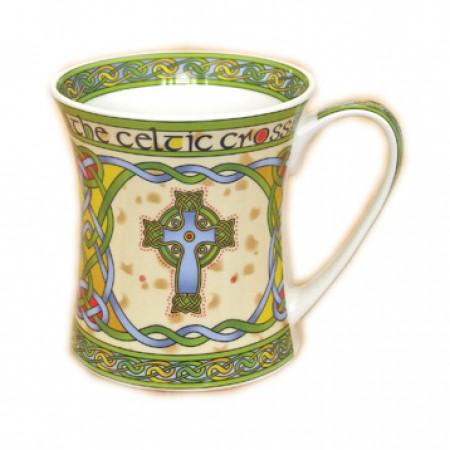 Irish Weave Bone China Mug With High Cross