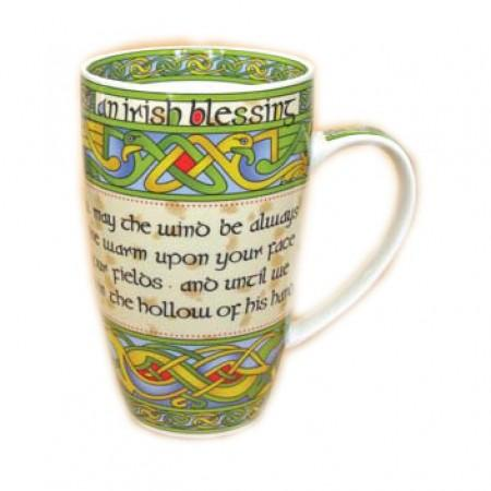 Irish Weave Bone China Mug With Irish Blessing Print