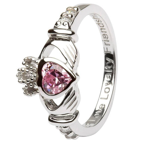 October Claddagh Birthstone Ring in Sterling Silver
