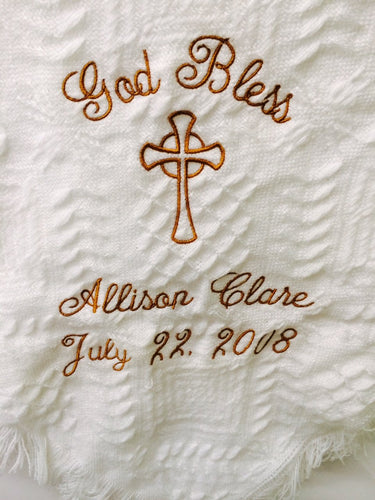 Personalized Embroidered Baptismal/Birth Blanket