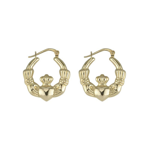 10K Gold Claddagh Earrings  Solvar