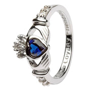 September Birthstone Claddagh Ring in Sterling Silver