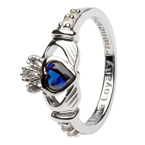 September Claddagh Birthstone Ring in Sterling Silver