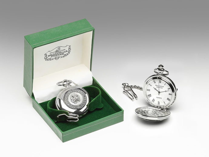 Mullingar Pewter Gents Pocket Watch Shamrock Design