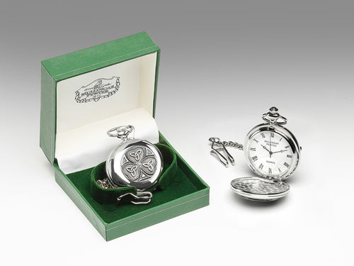 Mullingar Pewter Gents Pocket Watch Shamrock/Trinity Design