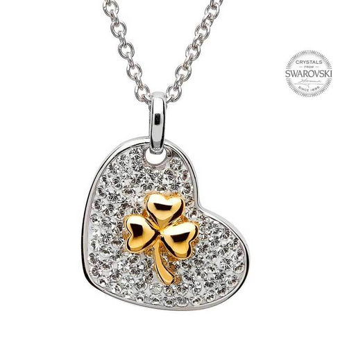 Gold Plated Shamrock Pendant Encrusted With Swarovski Crystals