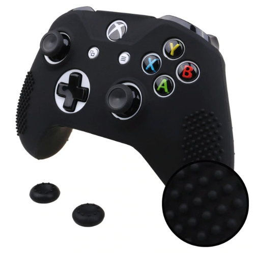 Studded Grip Cover Case + 2 Joystick Caps For Xbox One S / X