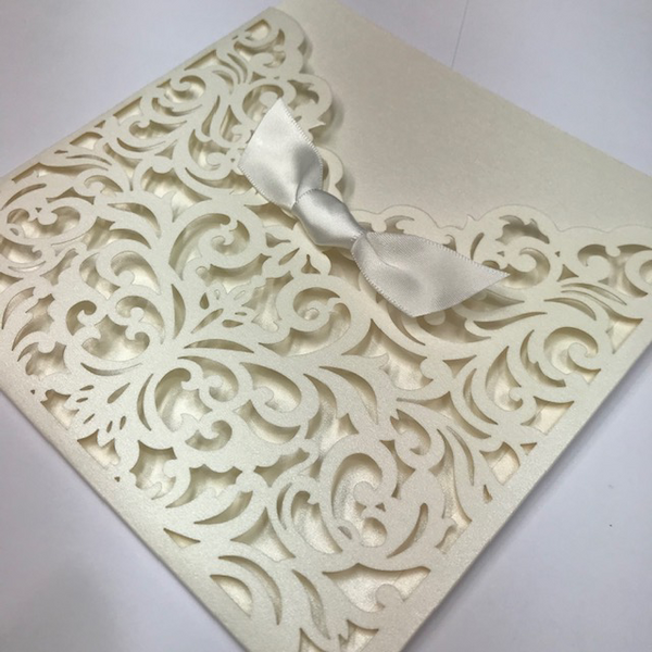 Cream Pearlescent Laser Cut Pocket with Ribbon x 20