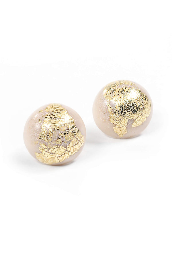 Astral beige and gold leaf spherical stud earrings handmade in Montreal Canada