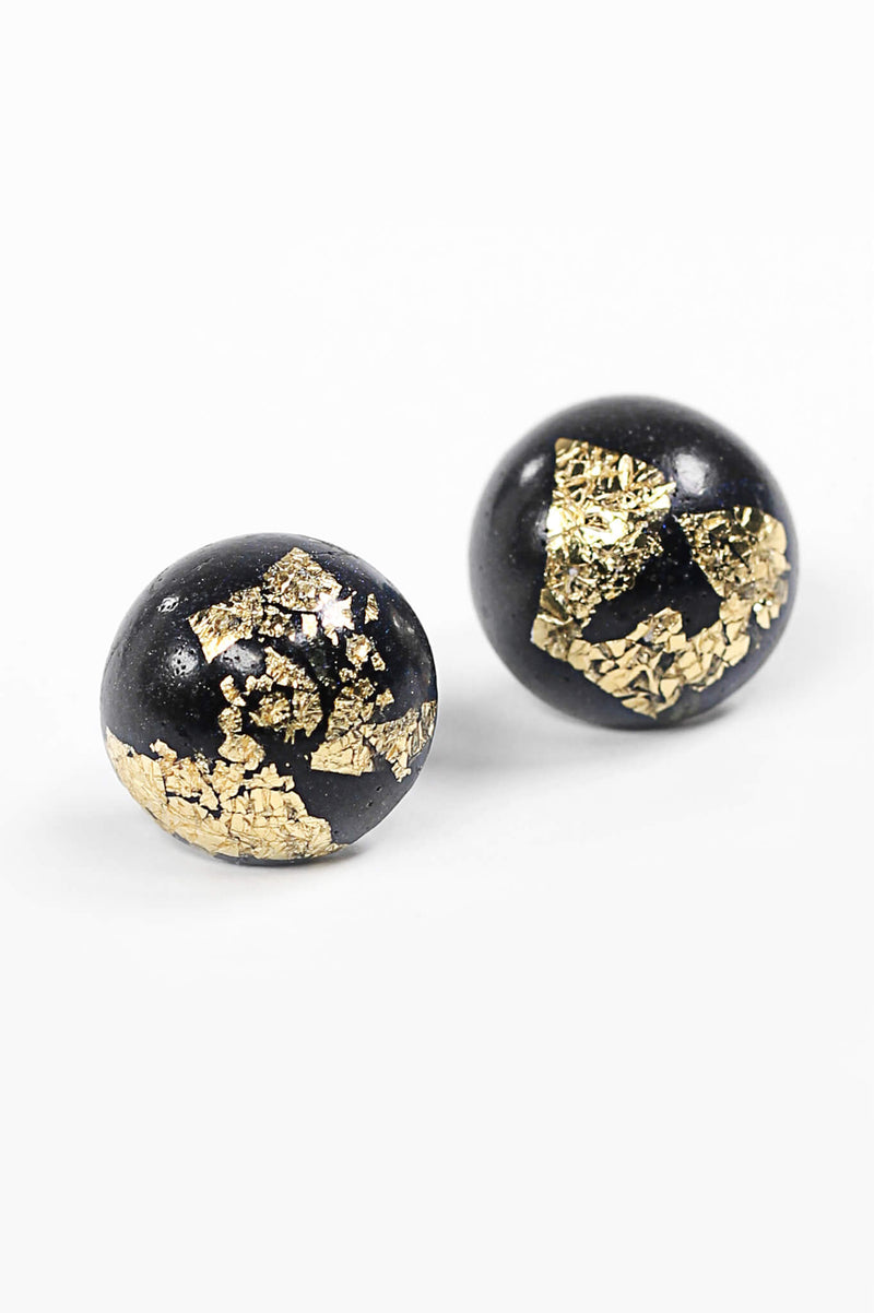 Astral black and gold leaf spherical stud earrings handmade in Montreal Canada