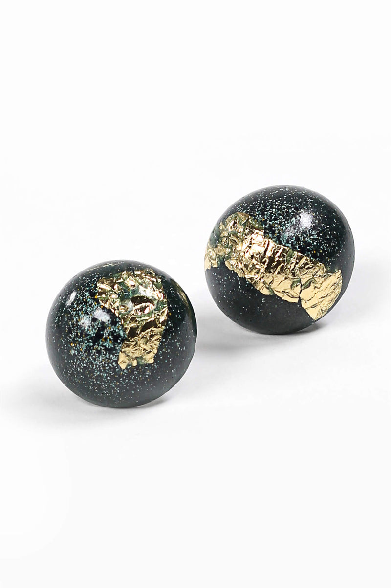 Astral forest green and gold leaf spherical stud earrings handmade in Montreal Canada