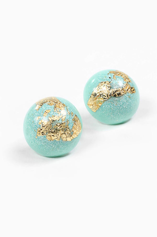 Astral mint green and gold leaf spherical stud earrings handmade in Montreal Canada