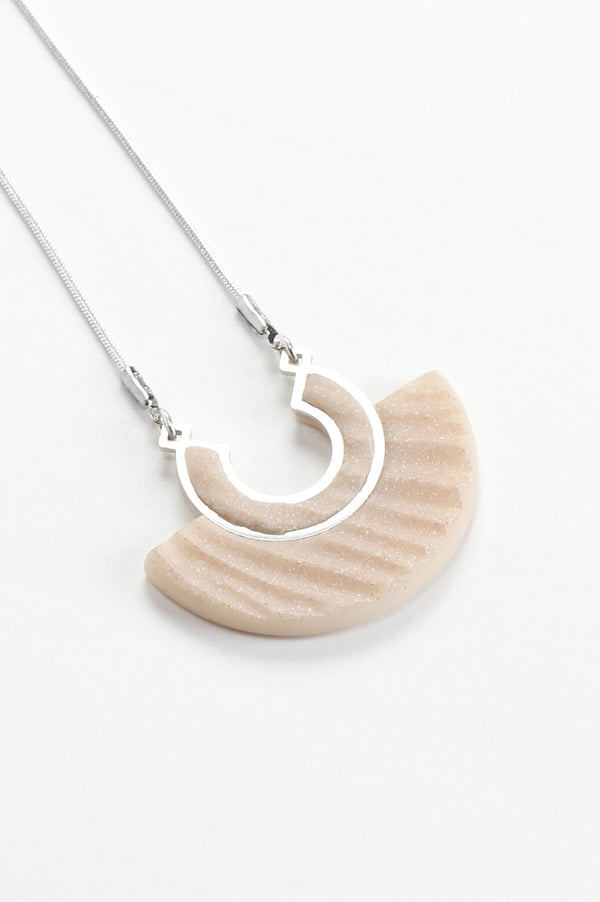 Aurore beige resin and hypoallergenic stainless steel necklace handmade in Montreal Canada