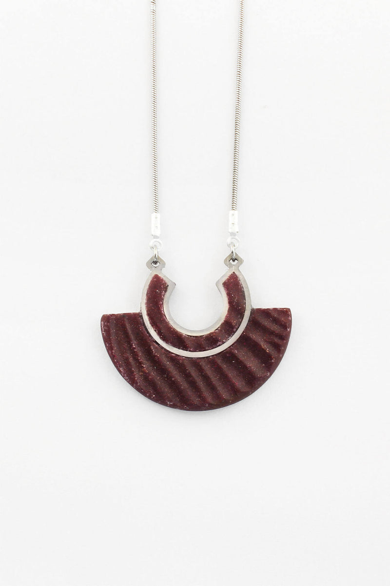Aurore burgundy red resin and hypoallergenic stainless steel pendant necklace handmade in Montreal Canada