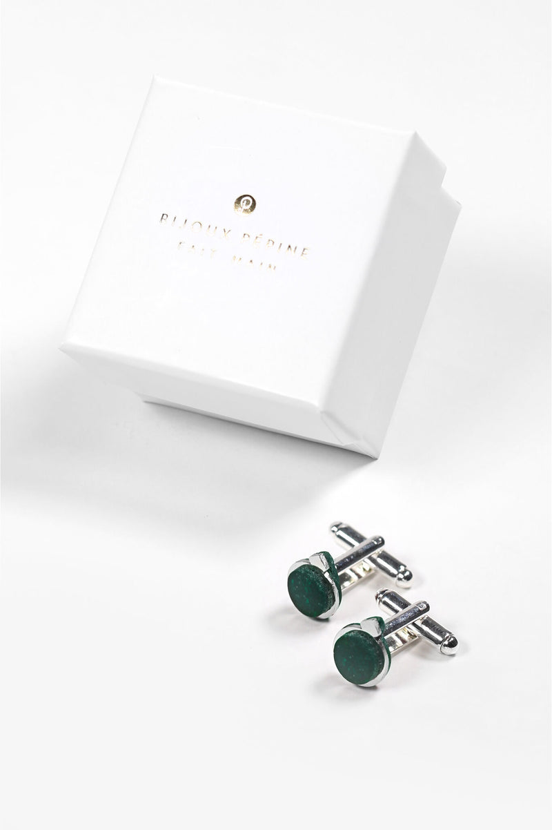 Montreal made forest green Echo cufflinks and Bijoux Pépine luxury gift packaging
