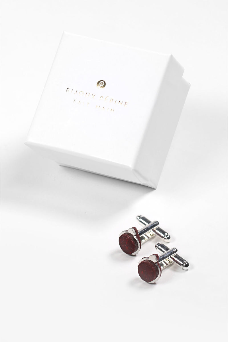 Montreal made burgundy red Echo cufflinks and Bijoux Pépine luxury gift packaging