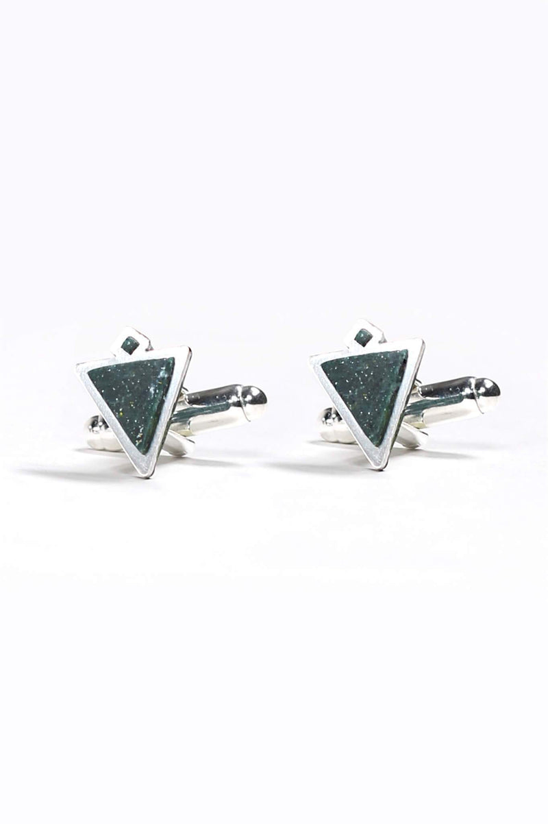 Nil, handmade cufflinks for him in forest green resin and hypoallergenic stainless steel