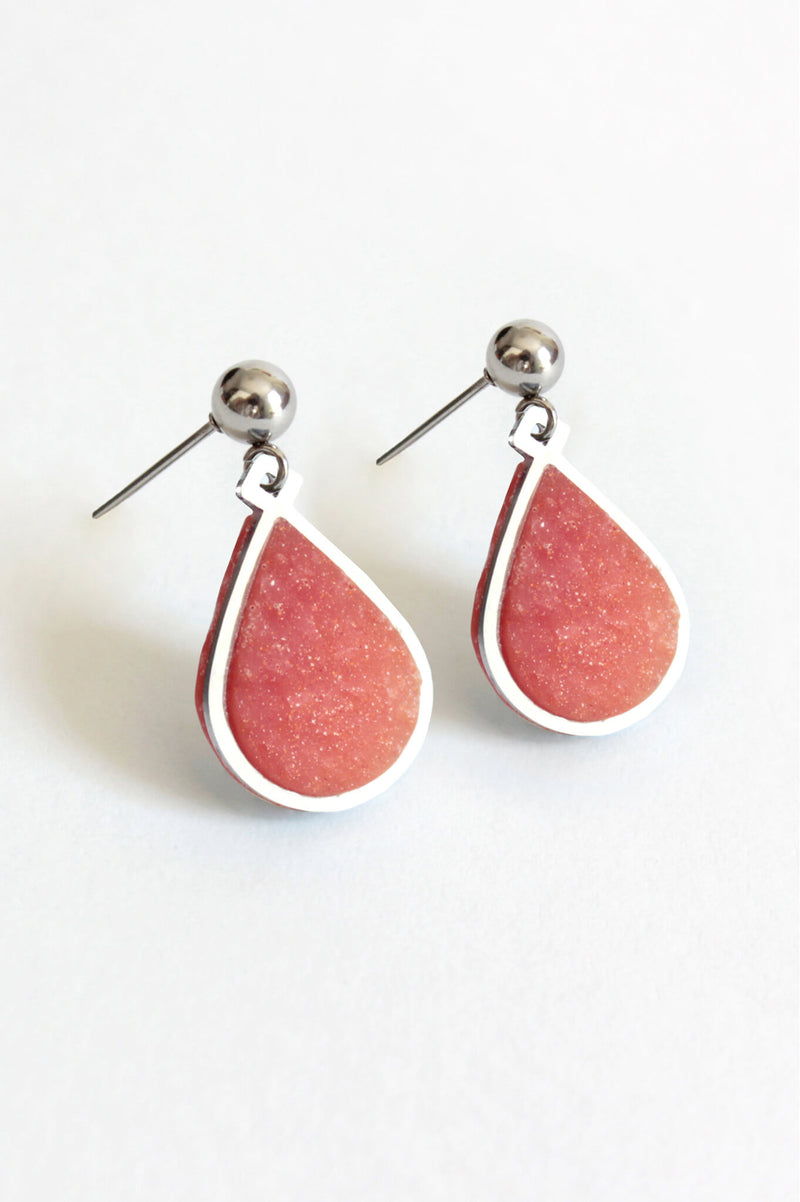 Candide teardrop stud earrings in coral red resin and hypoallergenic stainless steel