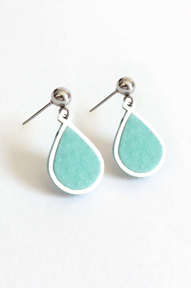 Candide teardrop stud earrings in mint green resin and hypoallergenic stainless steel