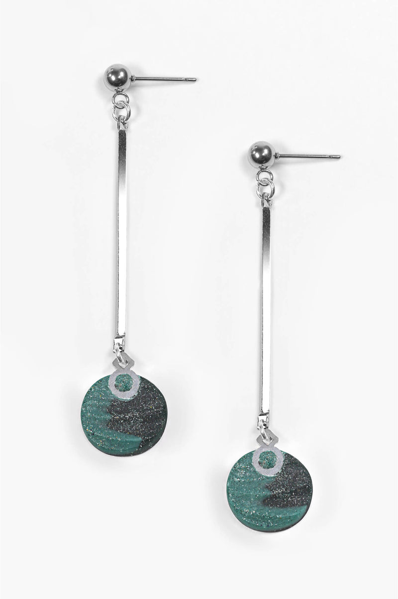 Dune earrings, handmade dangling studs in two-toned forest green resin and hypoallergenic stainless steel