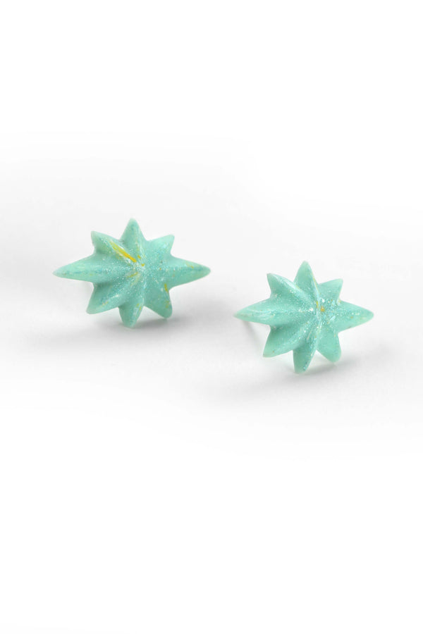 Étoile du Berger studs earrings star shape hypoallergenic stainless steelin mint green color resin