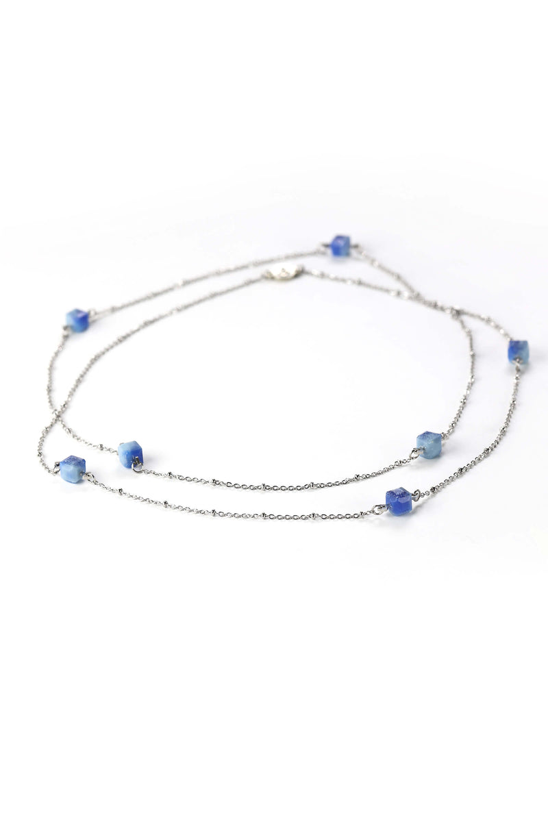 Hasard, delicate handmade jewellery set with bracelet, long necklace and long earrings in indigo blue color resin and hypoallergenic stainless steel
