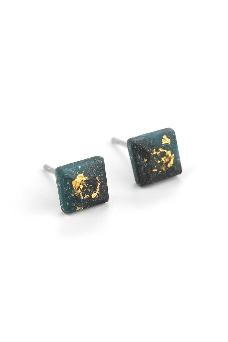 Mosaique, small square-shaped hypoallergenic studs in golden green forest resin and gold leaf