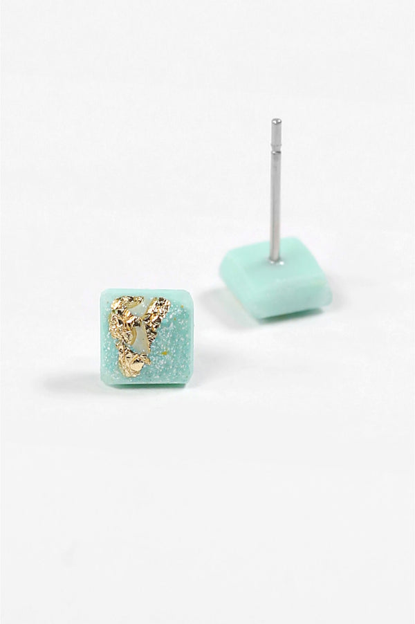 Mozaique, small square-shaped hypoallergenic studs in mint green resin and gold leaf