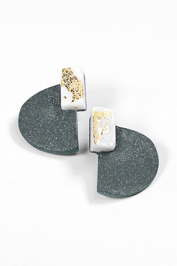 Nakiri, graphic statement studs in forest green and white resin and gold leaf